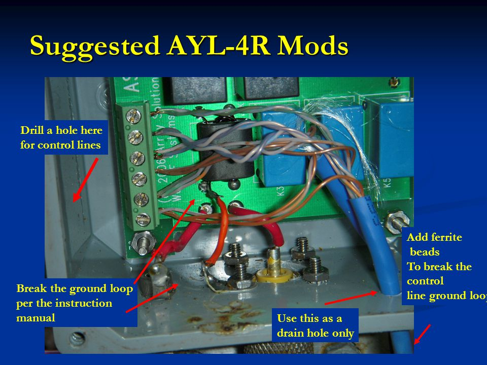 Suggested AYL-4R Mods Drill a hole here for control lines Add ferrite