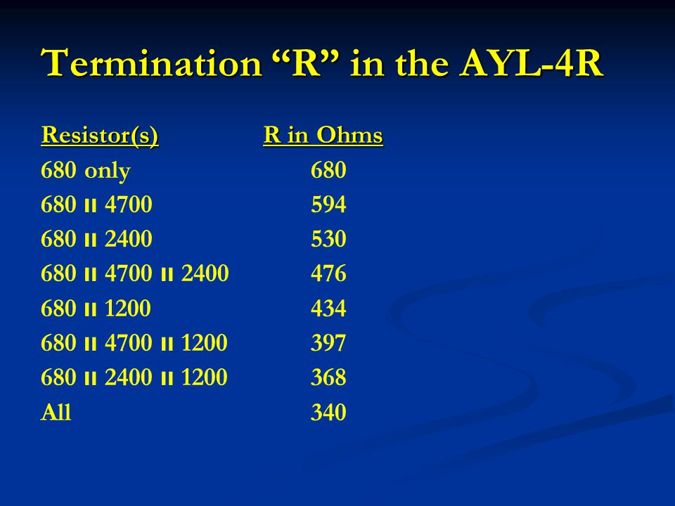 Termination R in the AYL-4R