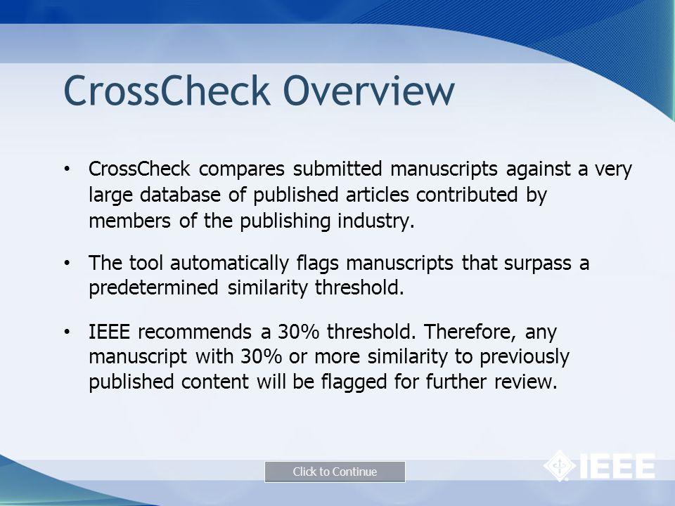 CrossCheck Overview