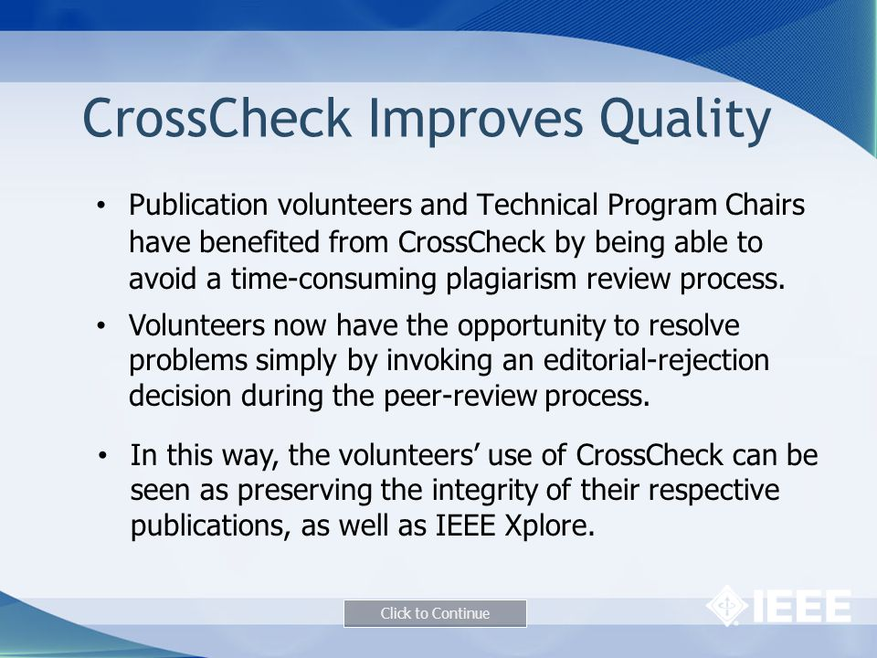 CrossCheck Improves Quality