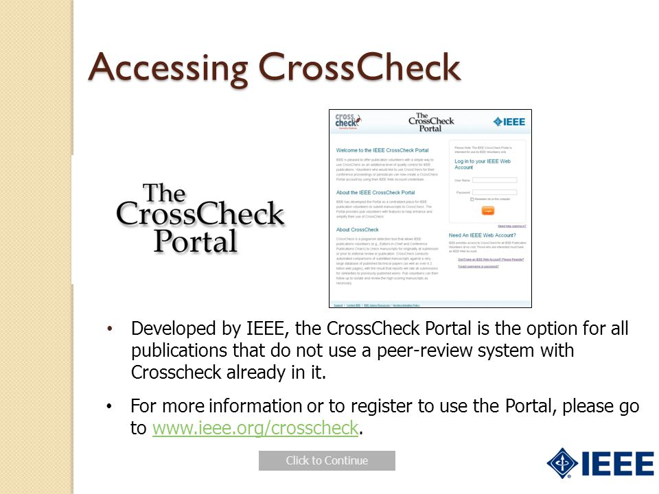 Accessing CrossCheck