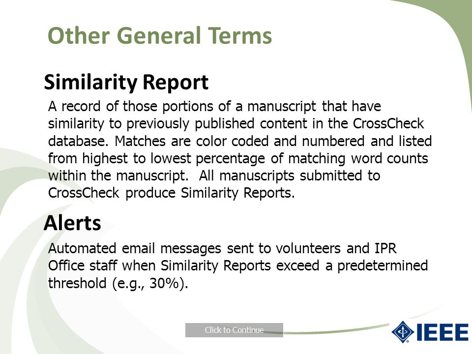 Other General Terms Similarity Report Alerts