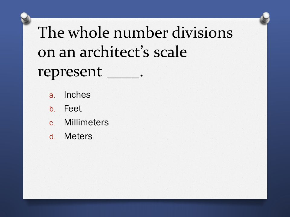 The whole number divisions on an architect's scale represent ____.