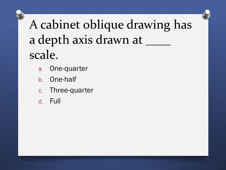 A cabinet oblique drawing has a depth axis drawn at ____ scale.
