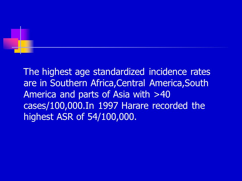 The highest age standardized incidence rates are in Southern Africa,Central America,South America and parts of Asia with >40 cases/100,000.In 1997 Harare recorded the highest ASR of 54/100,000.