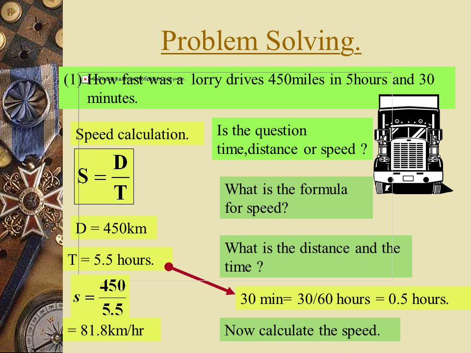 Problem Solving. How fast was a lorry drives 450miles in 5hours and 30 minutes. Is the question time,distance or speed