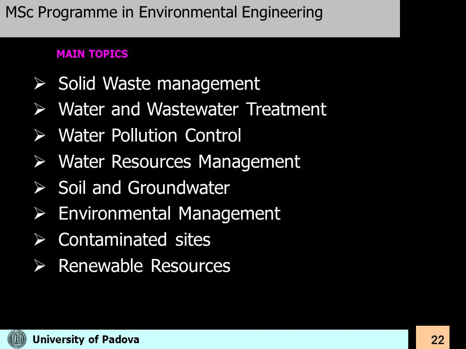 Solid Waste management Water and Wastewater Treatment