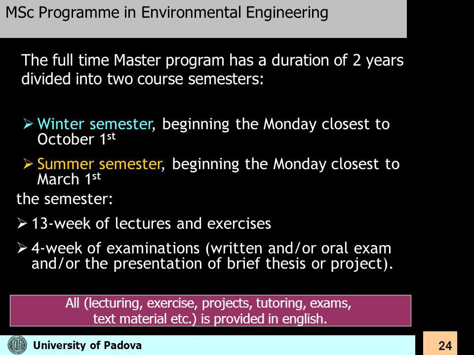 MSc Programme in Environmental Engineering
