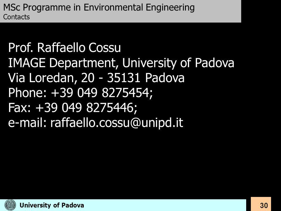 IMAGE Department, University of Padova Via Loredan, 20 - 35131 Padova