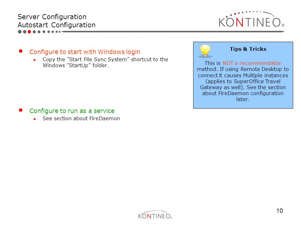Server Configuration Autostart Configuration
