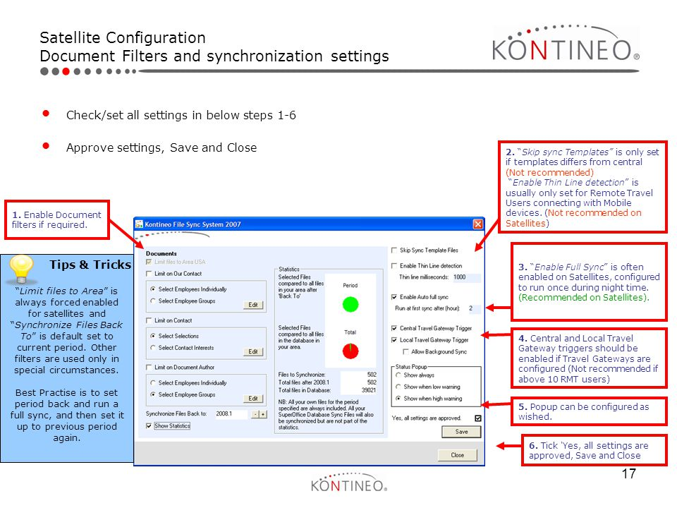 Satellite Configuration Document Filters and synchronization settings