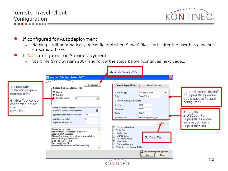 Remote Travel Client Configuration