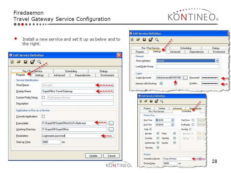 Firedaemon Travel Gateway Service Configuration