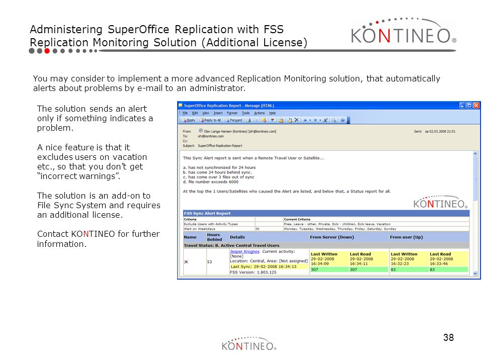 Administering SuperOffice Replication with FSS Replication Monitoring Solution (Additional License)