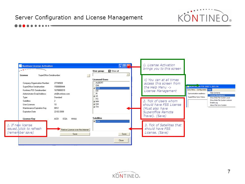 Server Configuration and License Management