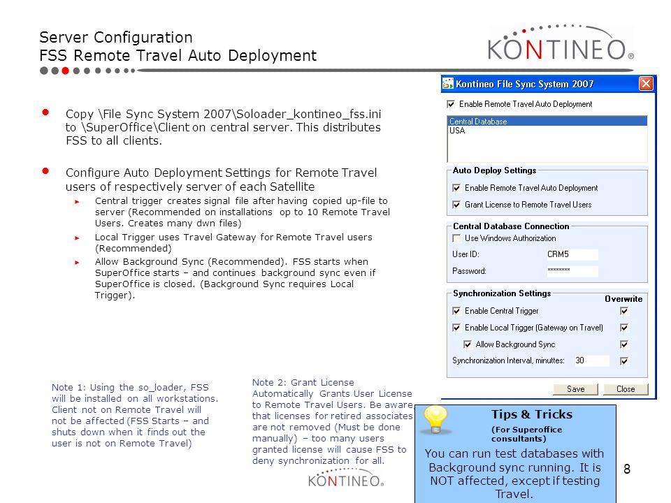 Server Configuration FSS Remote Travel Auto Deployment