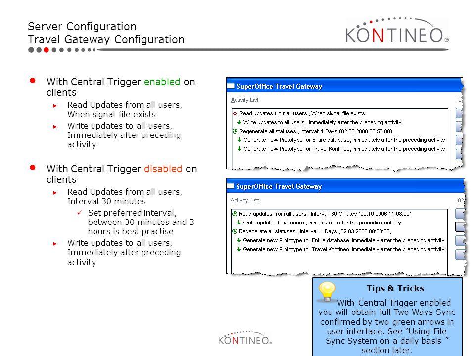 Server Configuration Travel Gateway Configuration