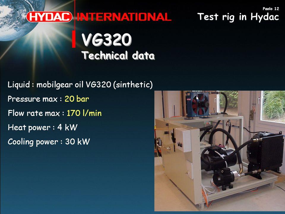 VG320 Technical data Test rig in Hydac