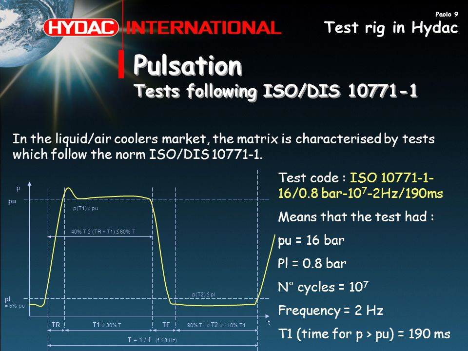 Pulsation Tests following ISO/DIS 10771-1 Test rig in Hydac