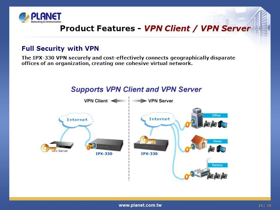 Product Features - VPN Client / VPN Server