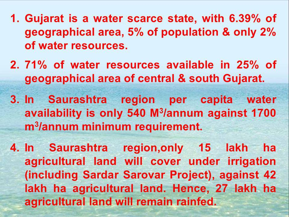 Gujarat is a water scarce state, with 6