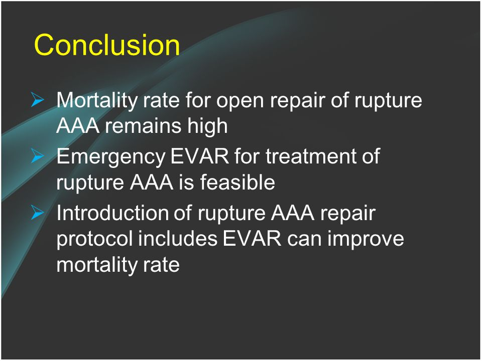 Conclusion Mortality rate for open repair of rupture AAA remains high