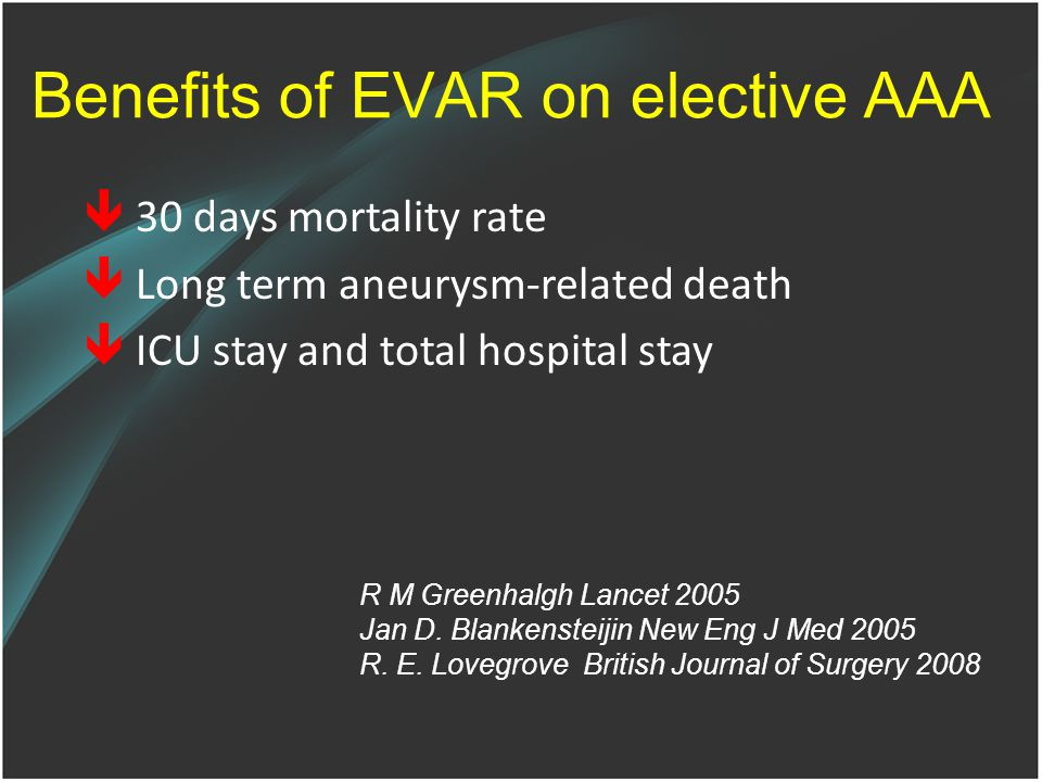 Benefits of EVAR on elective AAA