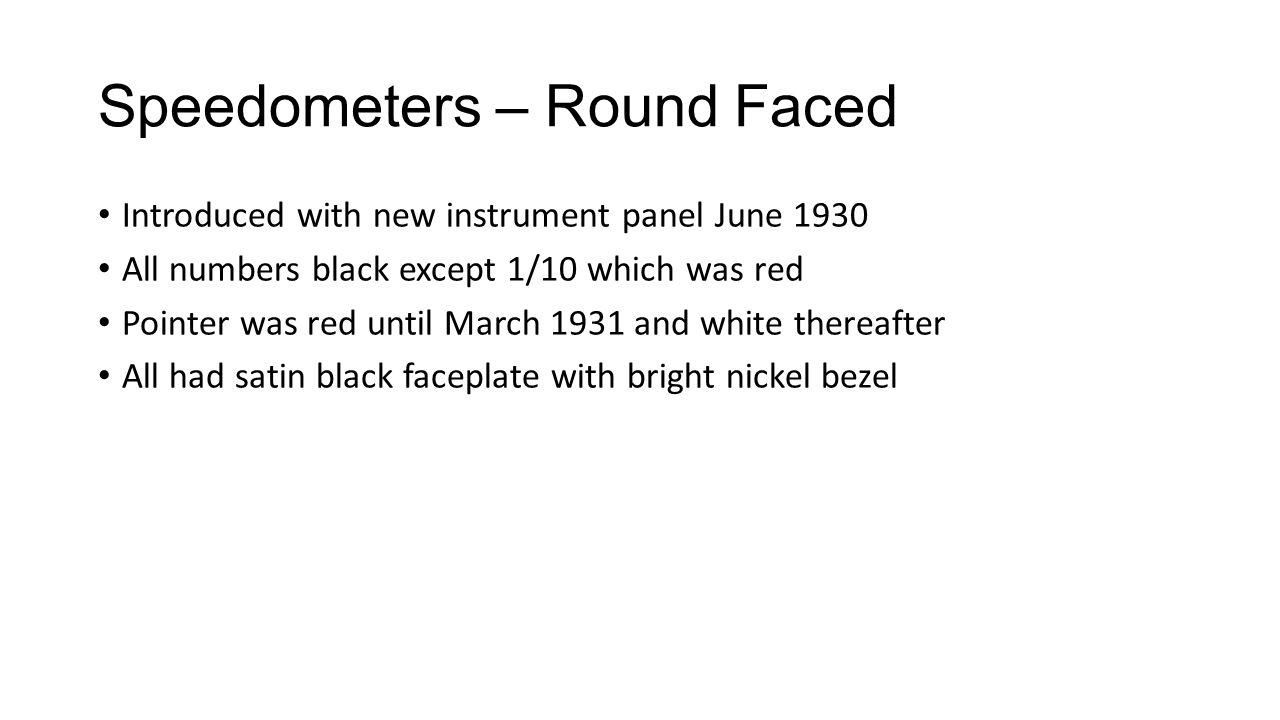 Speedometers – Round Faced