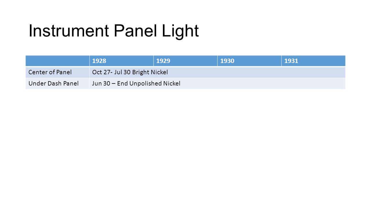 Instrument Panel Light
