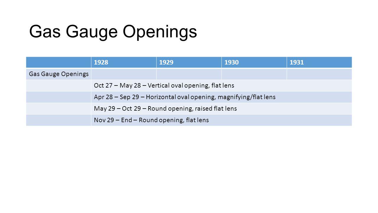 Gas Gauge Openings 1928 1929 1930 1931 Gas Gauge Openings