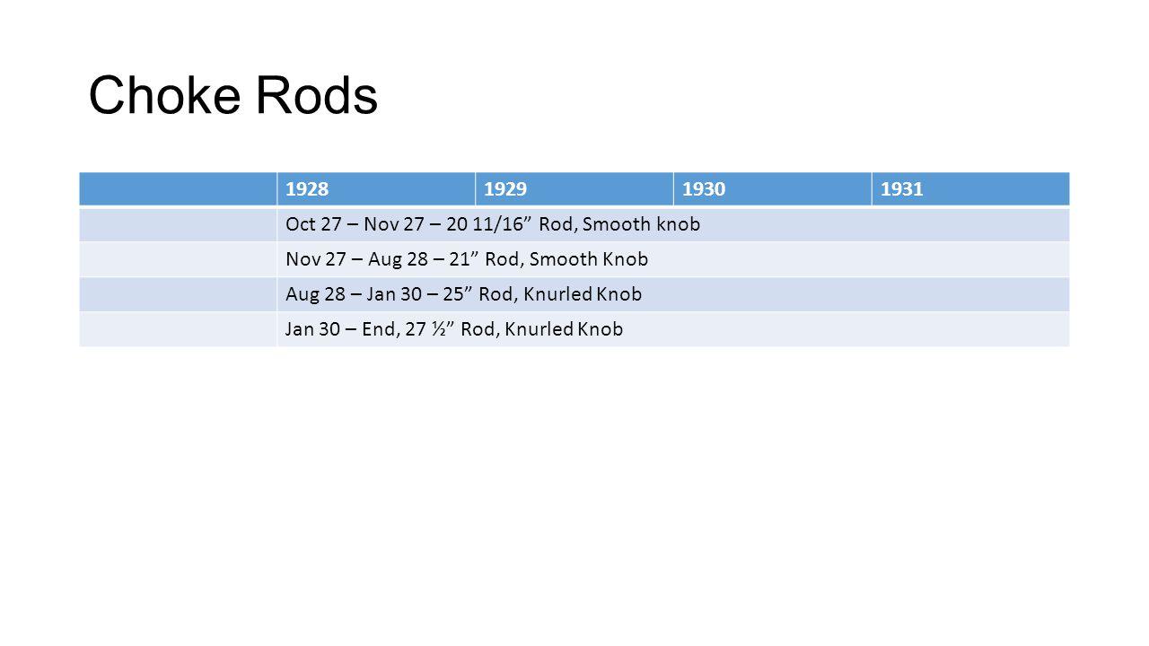 Choke Rods 1928. 1929. 1930. 1931. Oct 27 – Nov 27 – 20 11/16 Rod, Smooth knob. Nov 27 – Aug 28 – 21 Rod, Smooth Knob.