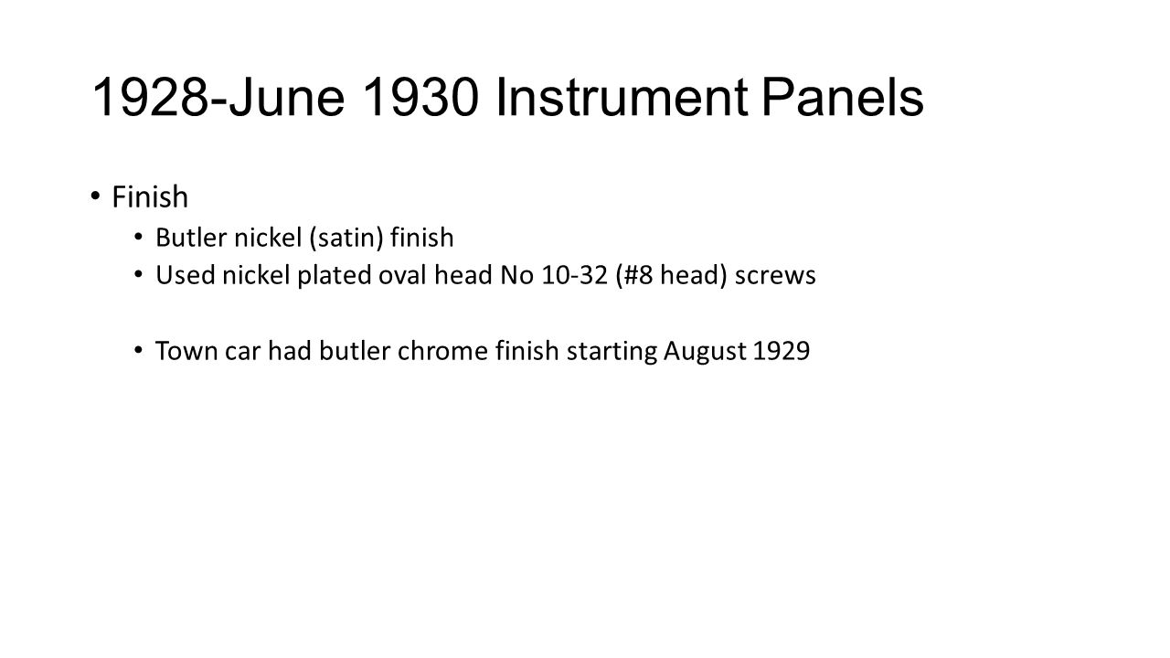 1928-June 1930 Instrument Panels