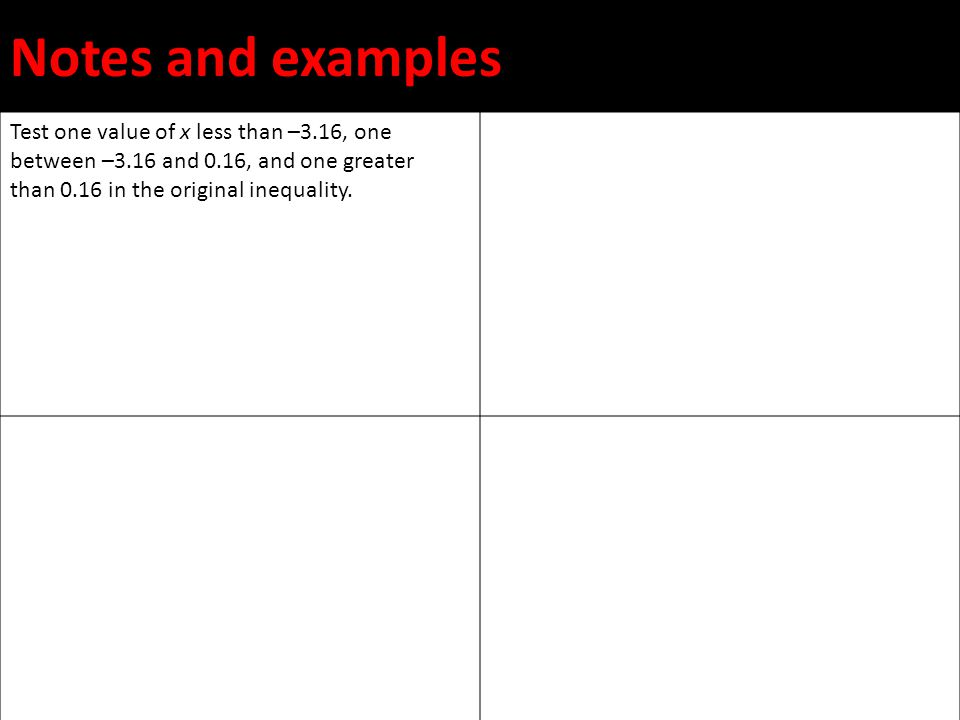 Notes and examples Test one value of x less than –3.16, one between –3.16 and 0.16, and one greater than 0.16 in the original inequality.