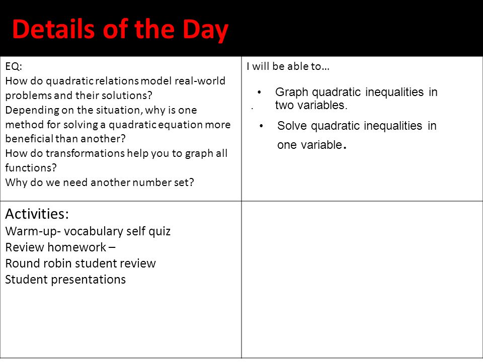 Details of the Day Activities: Warm-up- vocabulary self quiz
