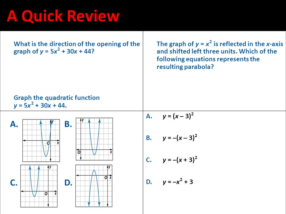 A Quick Review What is the direction of the opening of the graph of y = 5x 2 + 30x + 44 Graph the quadratic function.