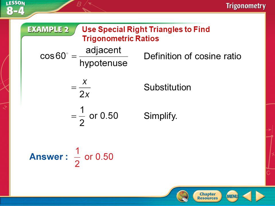 Definition of cosine ratio