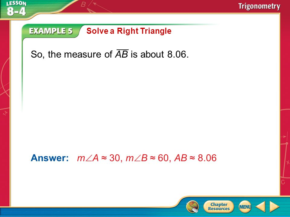 So, the measure of AB is about 8.06.