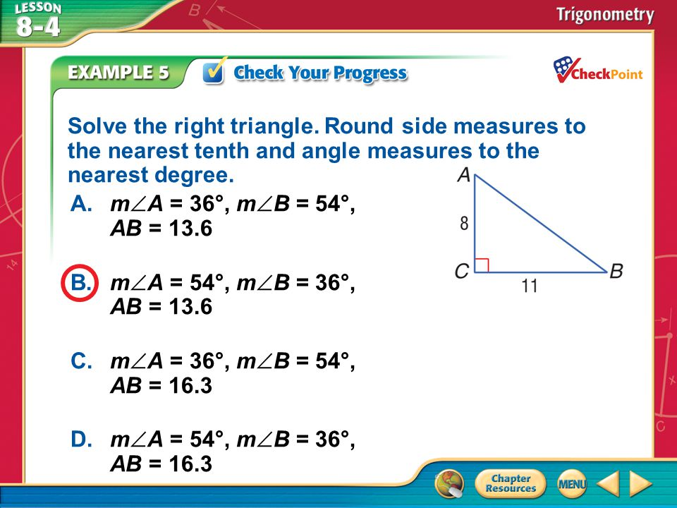 Solve the right triangle