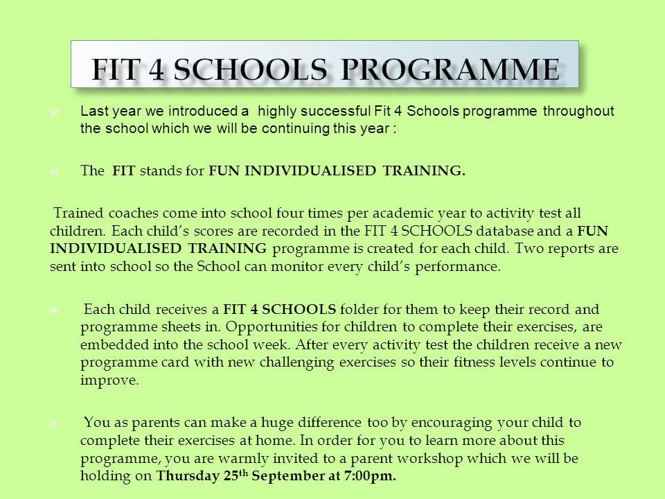 PE Fit 4 Schools Programme