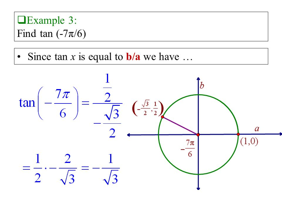 Example 3: Find tan (-7π/6) Since tan x is equal to b/a we have …