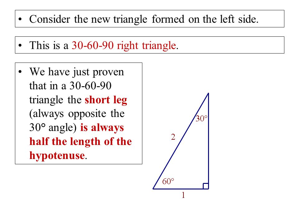 Consider the new triangle formed on the left side.