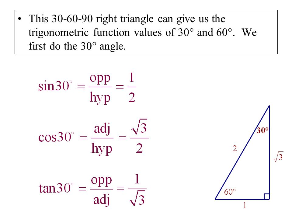 This 30-60-90 right triangle can give us the trigonometric function values of 30° and 60°.