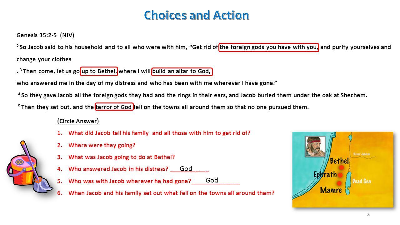 Choices and Action God God Genesis 35:2-5 (NIV)