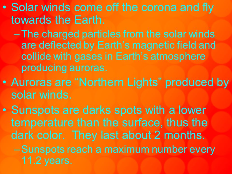 Solar winds come off the corona and fly towards the Earth.