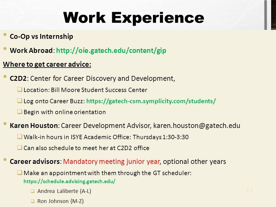 Work Experience Co-Op vs Internship