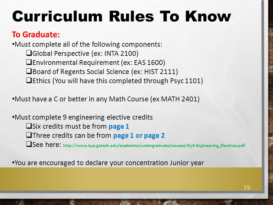 Curriculum Rules To Know