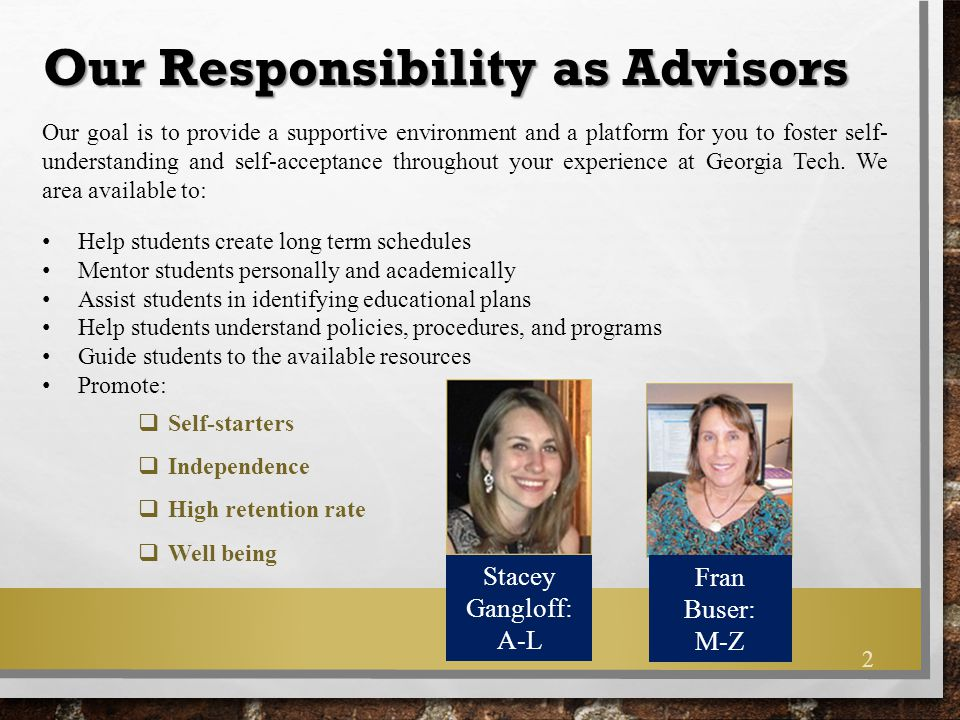 Our Responsibility as Advisors