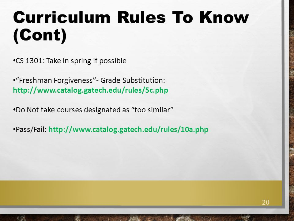 Curriculum Rules To Know (Cont)