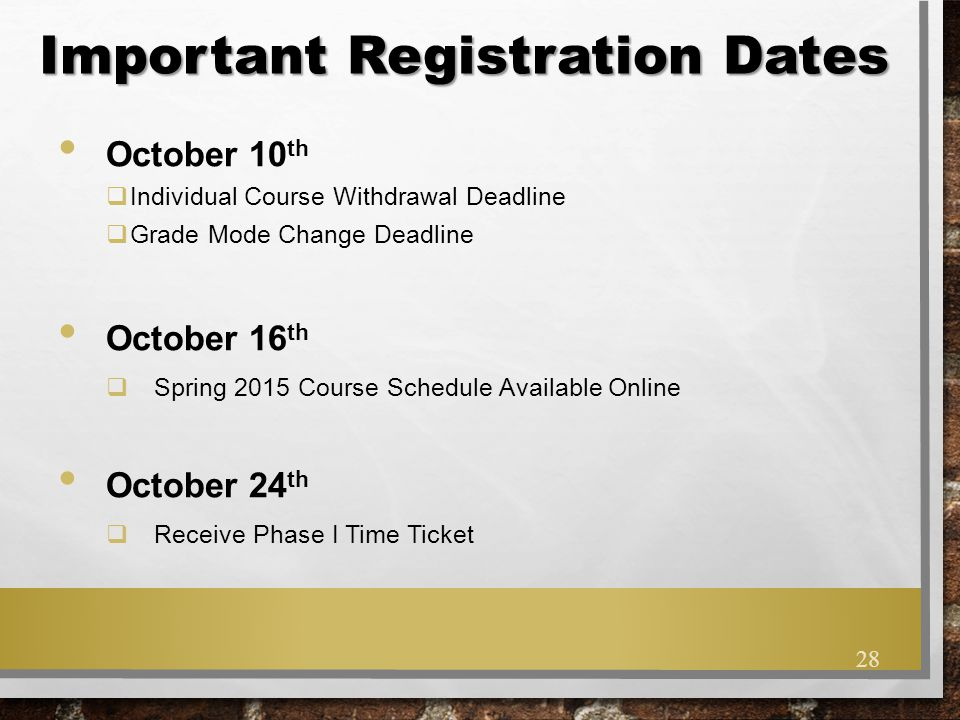 Important Registration Dates
