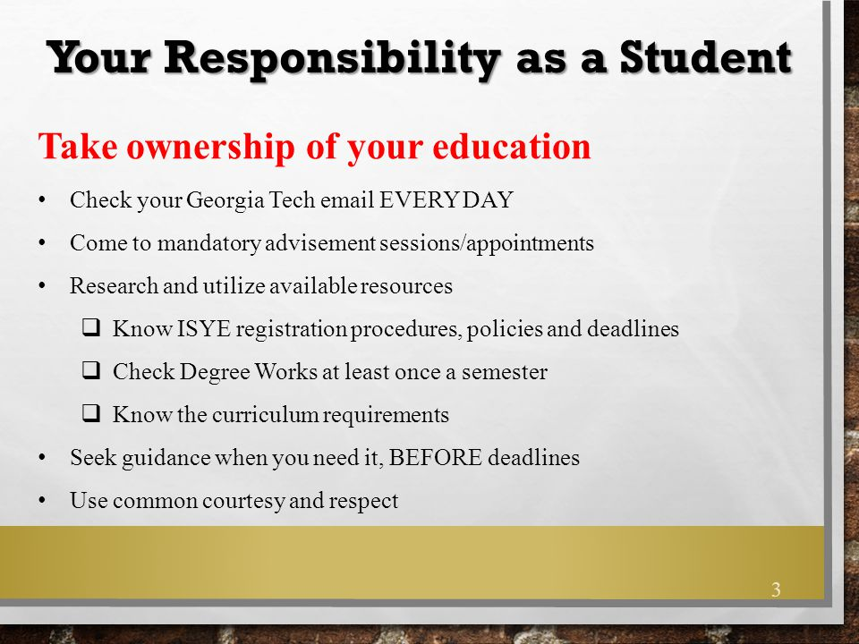 Your Responsibility as a Student